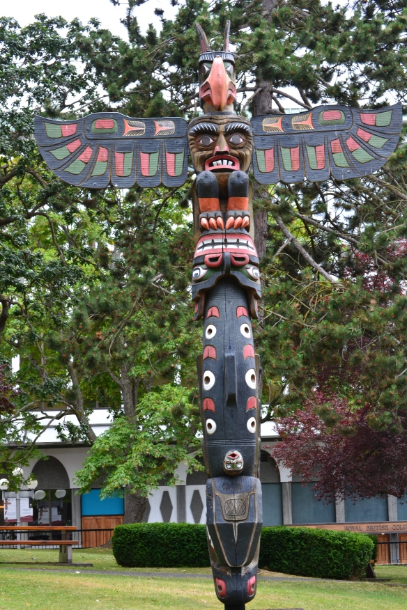 note: one of the totem poles in Thunderbird Park, Victoria, B.C., Canada